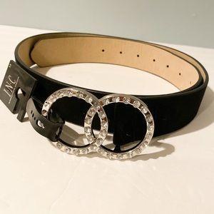 NWT INC  crystal studded buckle black belt